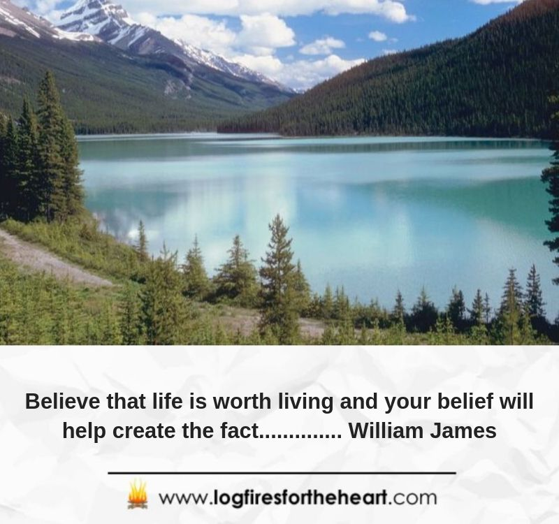 Believe that life is worth living and your belief will help create the fact.............. William James