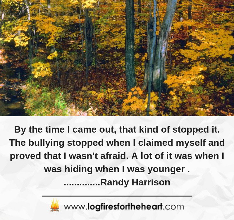 By the time I came out, that kind of stopped it. The bullying stopped when I claimed myself and proved that I wasn't afraid. A lot of it was when I was hiding when I was younger ...............Randy Harrison