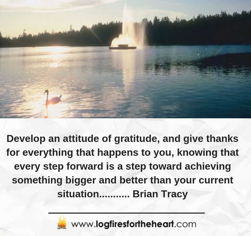 Develop an attitude of gratitude, and give thanks for everything that happens to you, knowing that every step forward is a step toward achieving something bigger and better than your current situation........... Brian Tracy