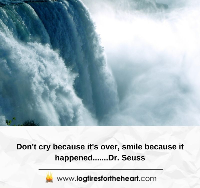Don't cry because it's over, smile because it happened.......Dr. Seuss