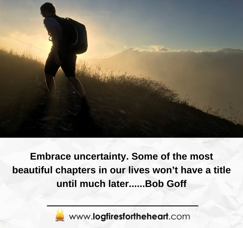 Embrace uncertainty. Some of the most beautiful chapters in our lives won't have a title until much later......Bob Goff