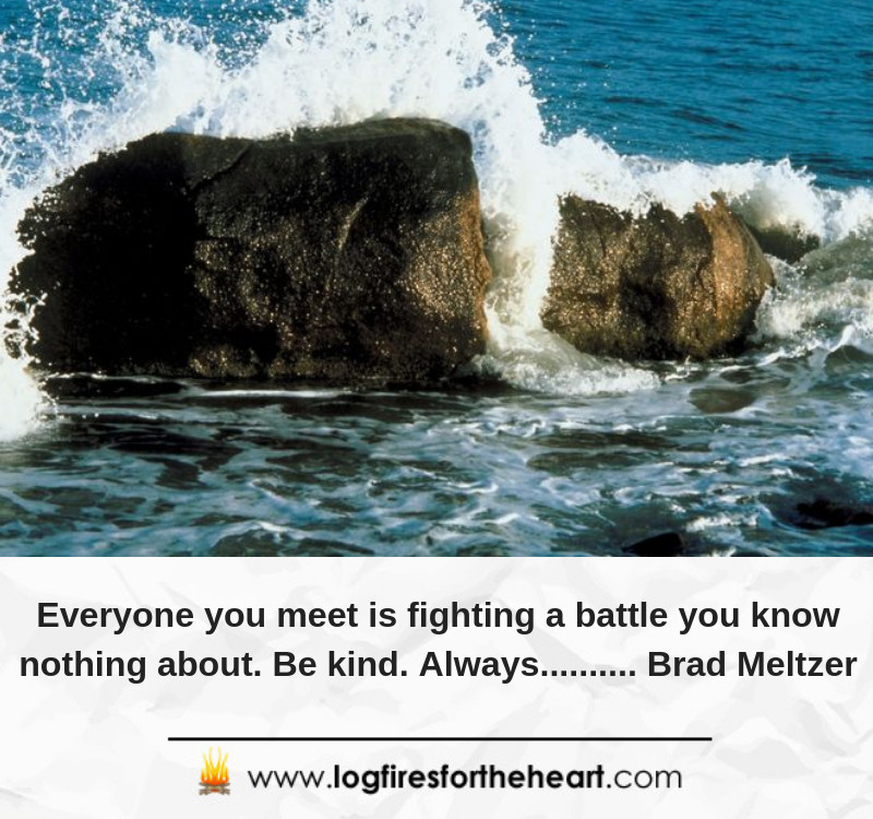 Everyone you meet is fighting a battle you know nothing about. Be kind. Always.......... Brad Meltzer