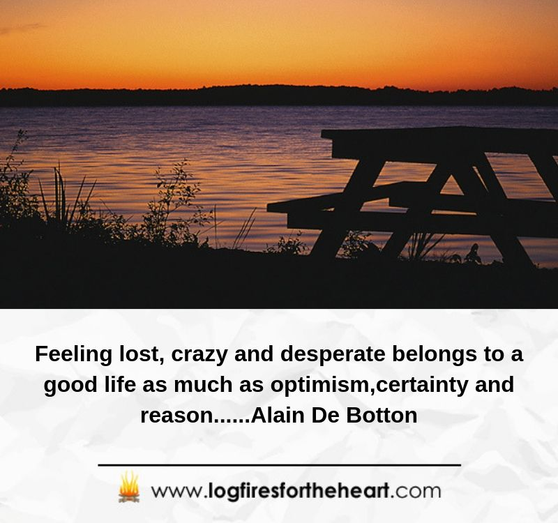 Feeling lost, crazy and desperate belongs to a good life as much as optimism,certainty and reason......Alain De Botton