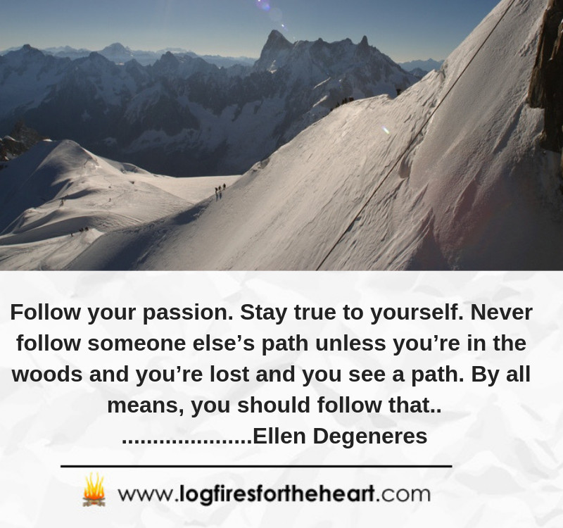 Follow your passion. Stay true to yourself. Never follow someone else's path unless you're in the woods and you're lost and you see a path. By all means, you should follow that............. Ellen Degeneres