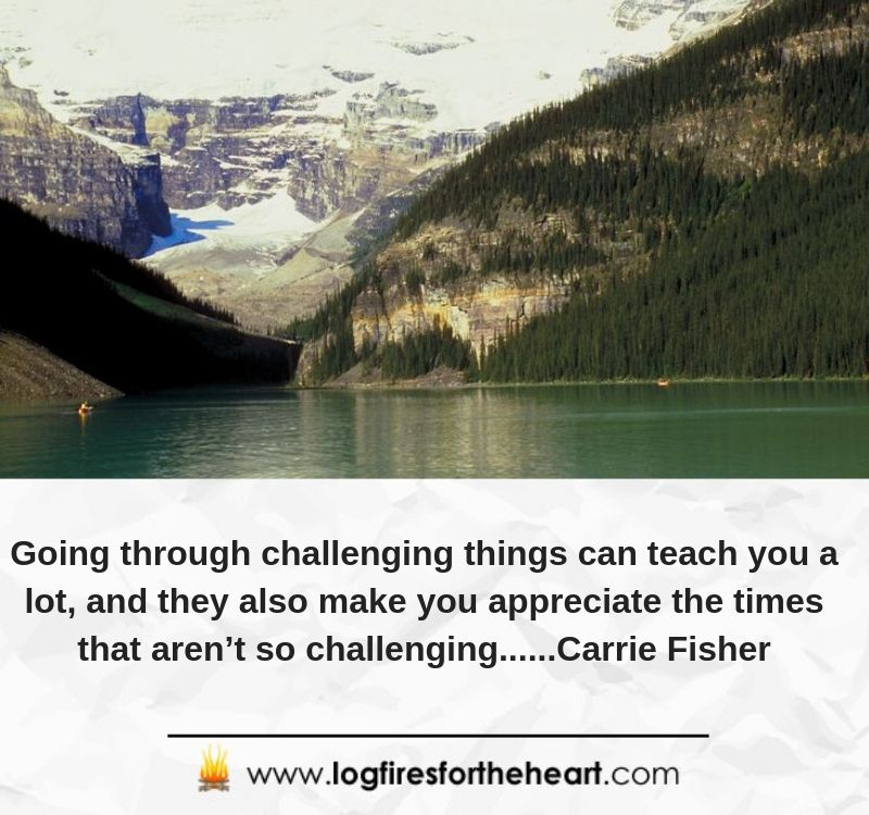 Going through challenging things can teach you a lot, and they also make you appreciate the times that aren't so challenging......Carrie Fisher
