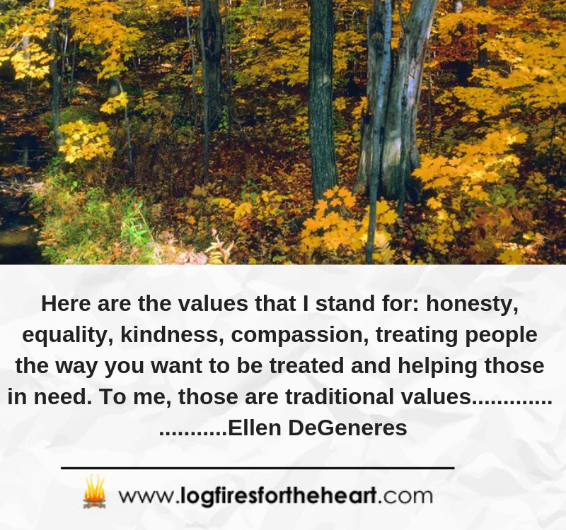 Here are the values that I stand for: honesty, equality, kindness, compassion, treating people the way you want to be treated and helping those in need. To me, those are traditional values............. ...........Ellen DeGeneres