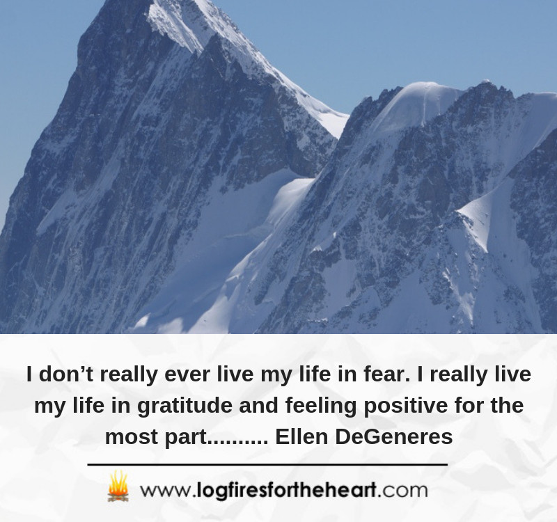 I don't really ever live my life in fear. I really live my life in gratitude and feeling positive for the most part.......... Ellen DeGeneres.