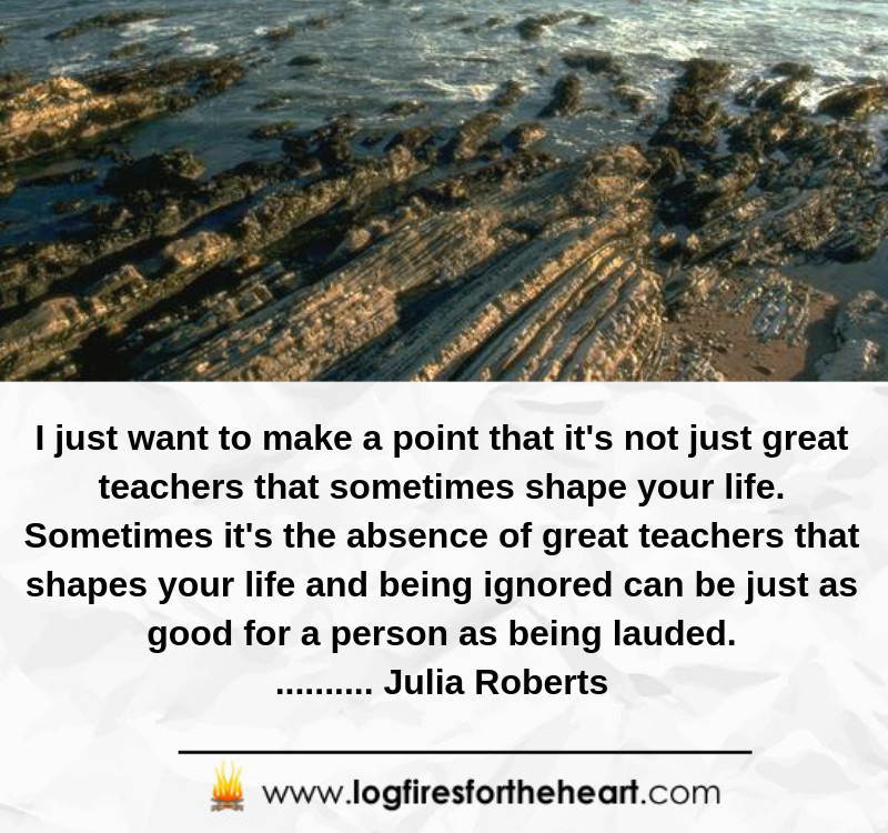 I just want to make a point that it's not just great teachers that sometimes shape your life. Sometimes it's the absence of great teachers that shapes your life and being ignored can be just as good for a person as being lauded........... Julia Roberts