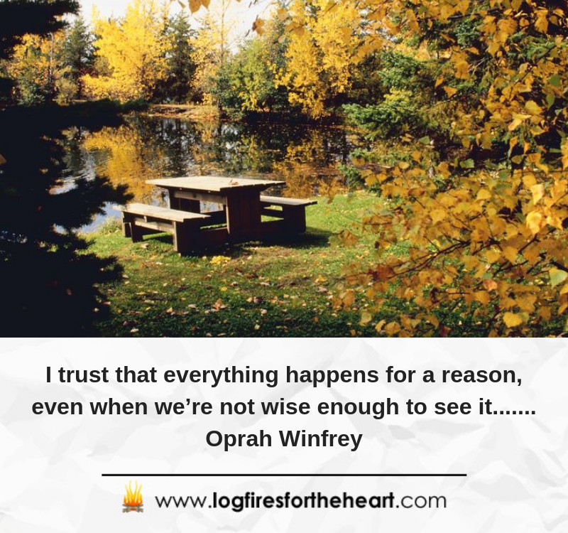 I trust that everything happens for a reason, even when we're not wise enough to see it....... Oprah Winfrey