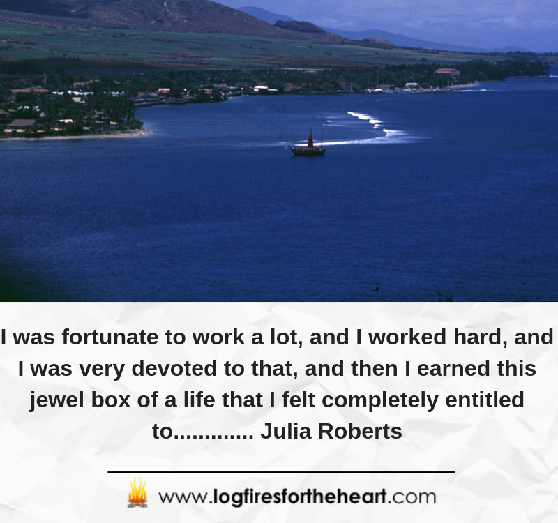 I was fortunate to work a lot, and I worked hard, and I was very devoted to that, and then I earned this jewel box of a life that I felt completely entitled to............. Julia Roberts