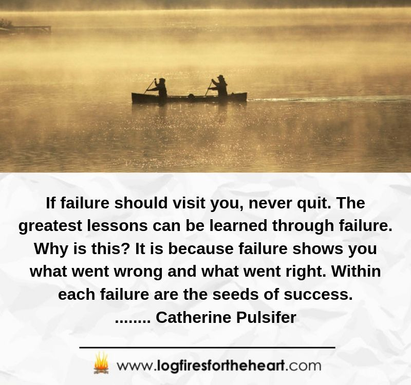 If failure should visit you, never quit. The greatest lessons can be learned through failure. Why is this? It is because failure shows you what went wrong and what went right. Within each failure are the seeds of success........ Catherine Pulsifer