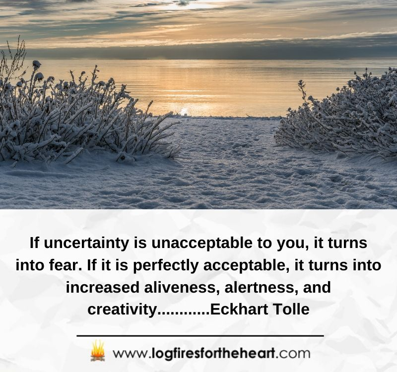 If uncertainty is unacceptable to you, it turns into fear. If it is perfectly acceptable, it turns into increased aliveness, alertness, and creativity............ Eckhart Tolle