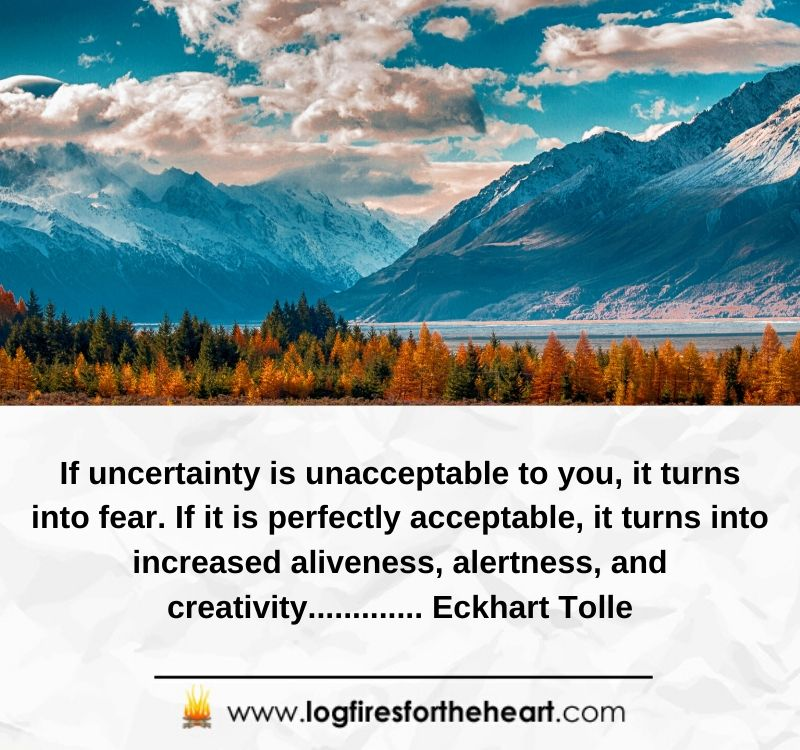 If uncertainty is unacceptable to you, it turns into fear. If it is perfectly acceptable, it turns into increased aliveness, alertness, and creativity............. Eckhart Tolle