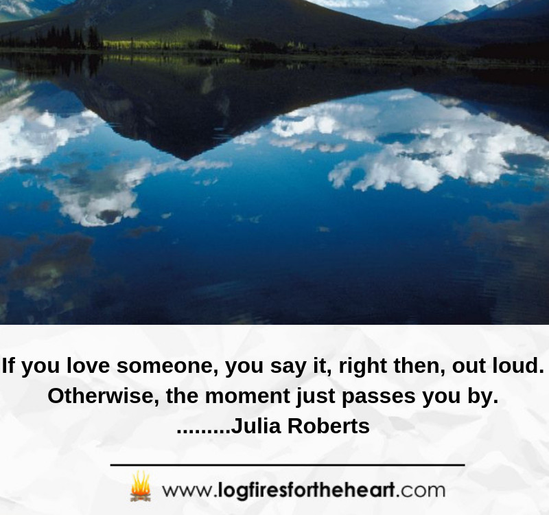 If you love someone, you say it, right then, out loud. Otherwise, the moment just passes you by. .........Julia Roberts