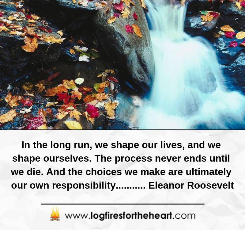 In the long run, we shape our lives, and we shape ourselves. .......... Eleanor Roosevelt