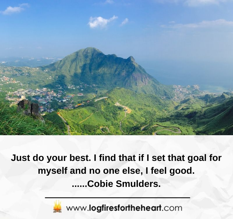 Just do your best. I find that if I set that goal for myself and no one else, I feel good.......Cobie Smulders.