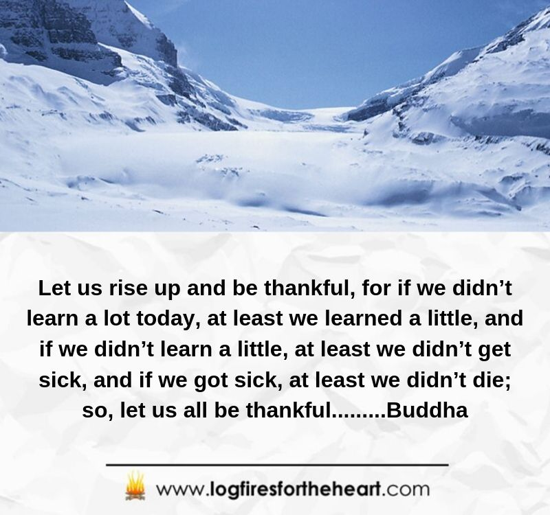 Let us rise up and be thankful, for if we didn't learn a lot today, at least we learned a little, and if we didn't learn a little, at least we didn't get sick, and if we got sick, at least we didn't die; so, let us all be thankful.........Buddha