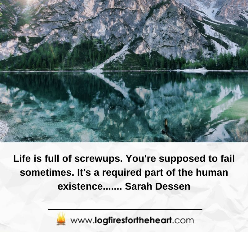 Life is full of screwups. You're supposed to fail sometimes. It's a required part of the human existence.......Sarah Dessen