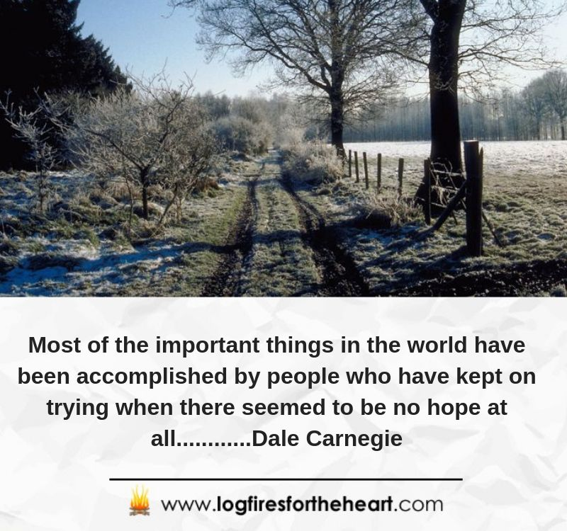 Most of the important things in the world have been accomplished by people who have kept on trying when there seemed to be no hope at all.........Dale Carnegie