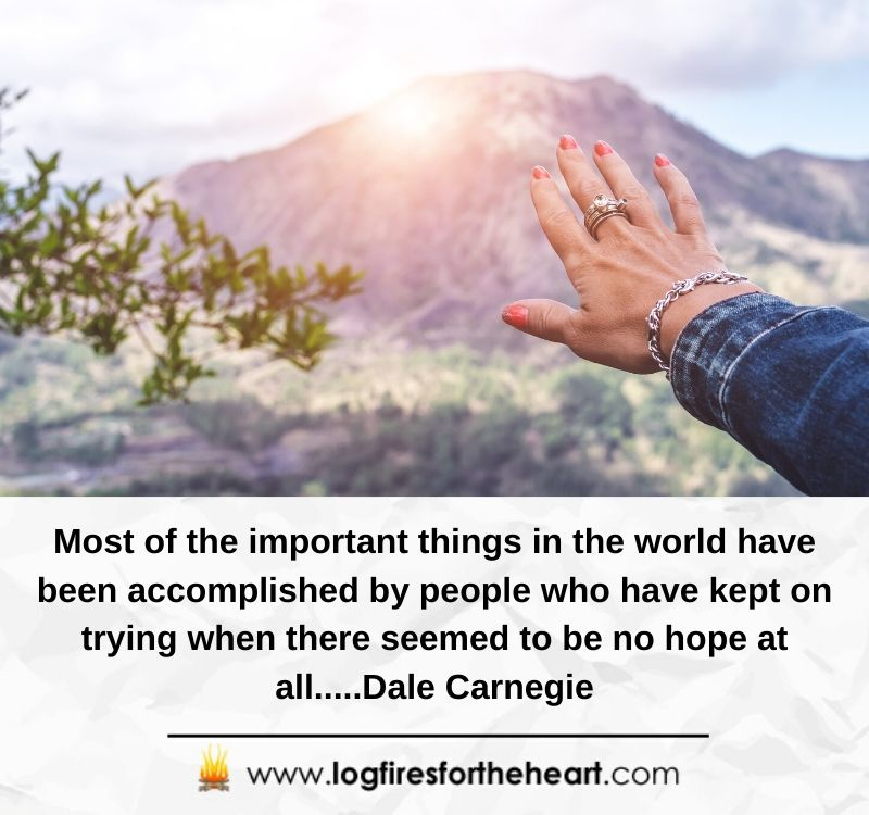 Most of the important things in the world have been accomplished by people who have kept on trying when there seemed to be no hope at all.....Dale Carnegie