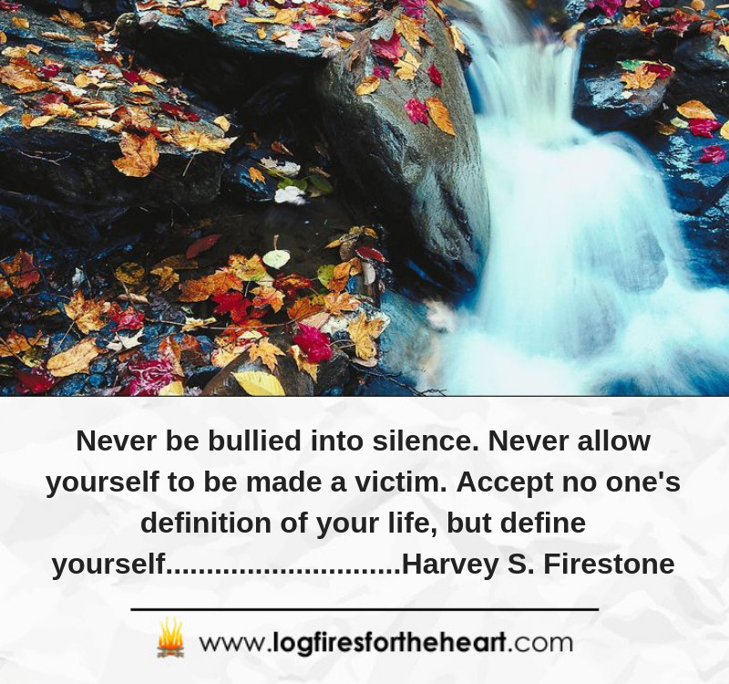 Never be bullied into silence. Never allow yourself to be made a victim. Accept no one's definition of your life, but define yourself.............................Harvey S. Firestone