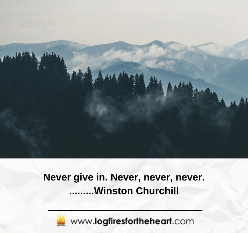 Never give in. Never, never, never...Winston Churchill