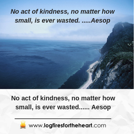 No act of kindness, no matter how small, is ever wasted. Aesop