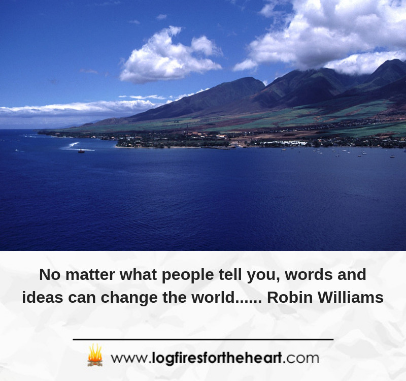 No matter what people tell you, words and ideas can change the world...... Robin Williams
