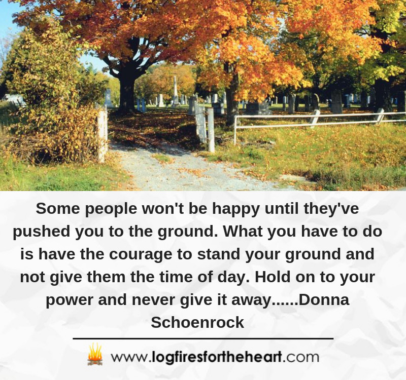 Some people won't be happy until they've pushed you to the ground. What you have to do is have the courage to stand your ground and not give them the time of day. Hold on to your power and never give it away......Donna Schoenrock