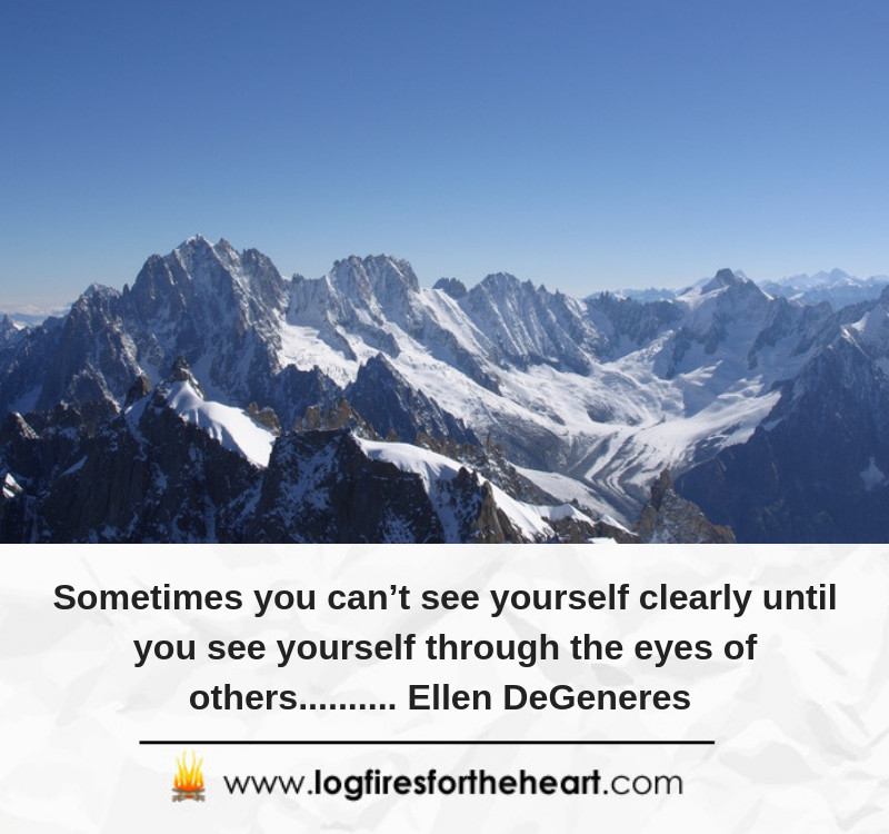 Sometimes you can't see yourself clearly until you see yourself through the eyes of others.......... Ellen DeGeneres.