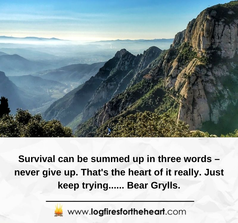 Survival can be summed up in three words – never give up. That's the heart of it really. Just keep trying...... Bear Grylls