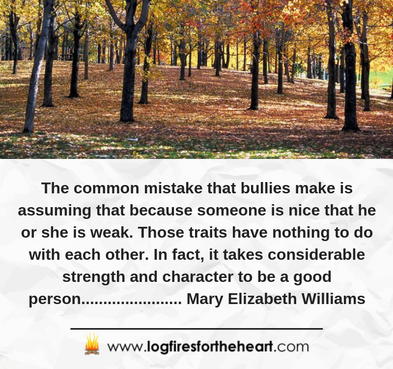 The common mistake that bullies make is assuming that because someone is nice that he or she is weak. Those traits have nothing to do with each other. In fact, it takes considerable strength and character to be a good person.......... Mary Elizabeth Williams