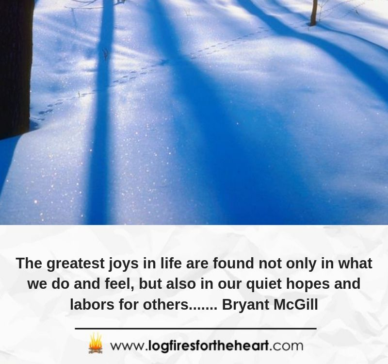 The greatest joys in life are found not only in what we do and feel, but also in our quiet hopes and labors for others....... Bryant McGill
