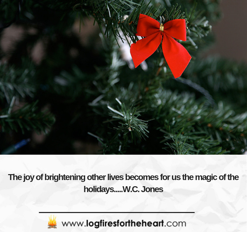The joy of brightening other lives, bearing others' burdens, easing other's loads and supplanting empty hearts and lives with generous gifts becomes for us the magic of Christmas.........W. C. Jones