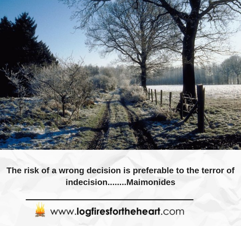 The risk of a wrong decision is preferable to the terror of indecision........ Maimonides