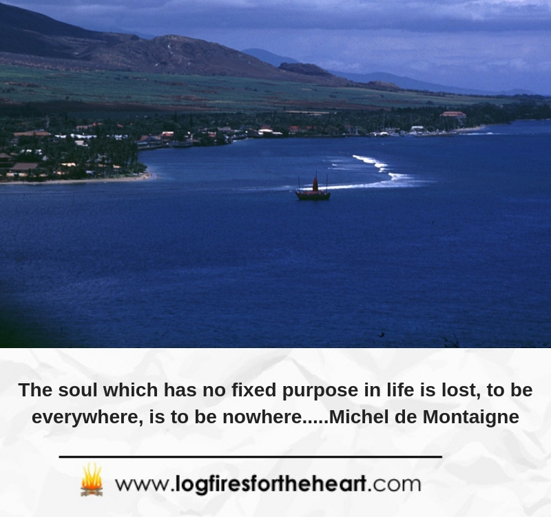 The soul which has no fixed purpose in life is lost, to be everywhere, is to be nowhere.....Michel de Montaigne