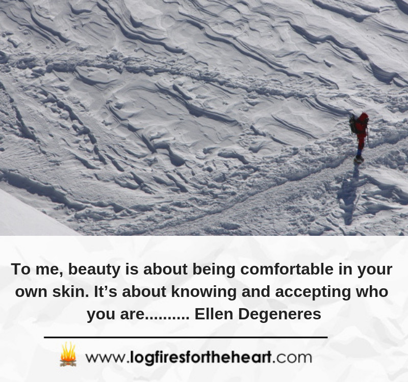 To me, beauty is about being comfortable in your own skin. It's about knowing and accepting who you are.......... Ellen Degeneres.