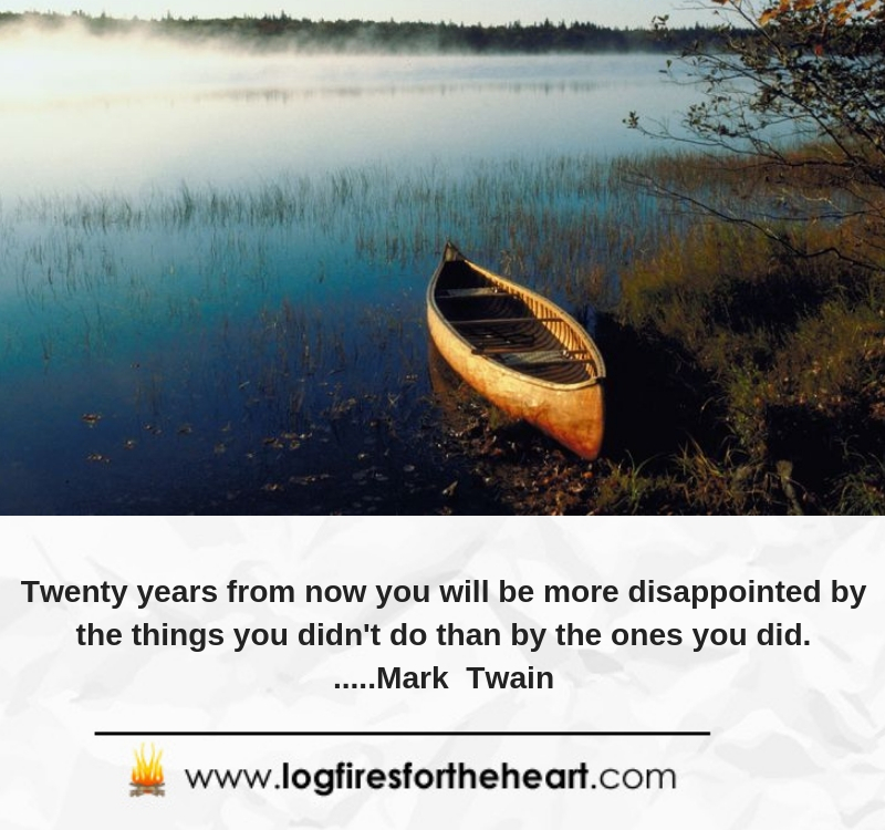 Twenty years from now you will be more disappointed by the things you didn't do than by the ones you did......Mark Twain