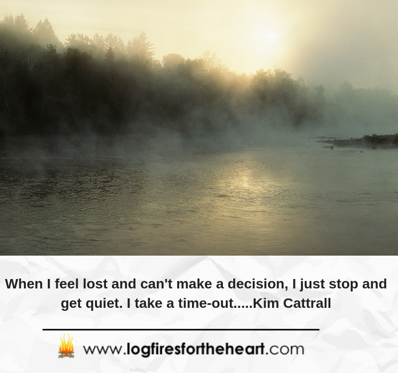 When I feel lost and can't make a decision, I just stop and get quiet. I take a time-out.....Kim Cattrall