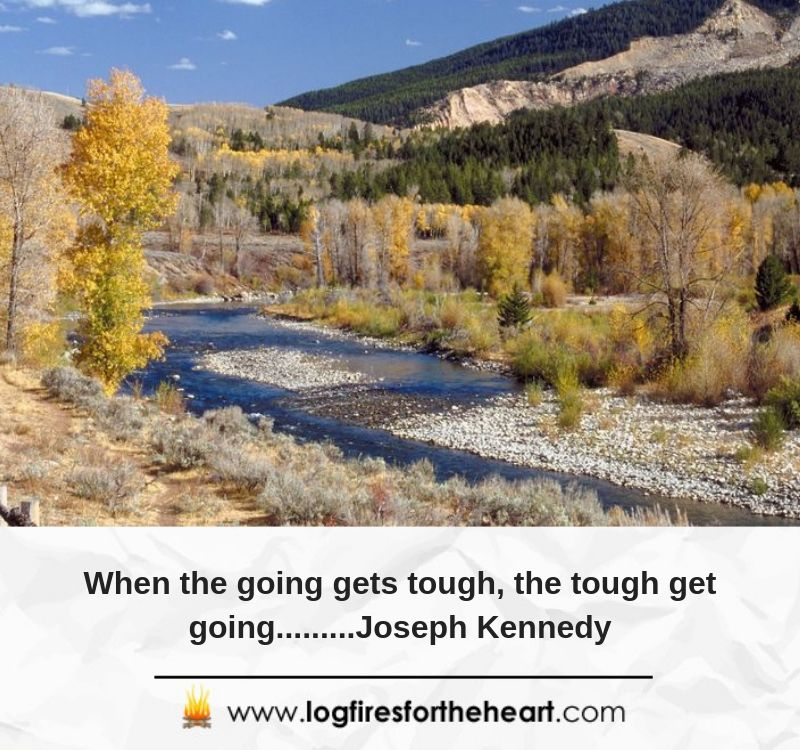 When the going gets tough, the tough get going.........Joseph Kennedy