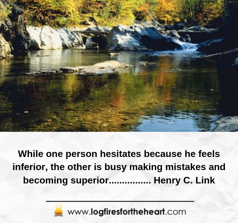 While one person hesitates because he feels inferior, the other is busy making mistakes and becoming superior... ............. Henry C. Link