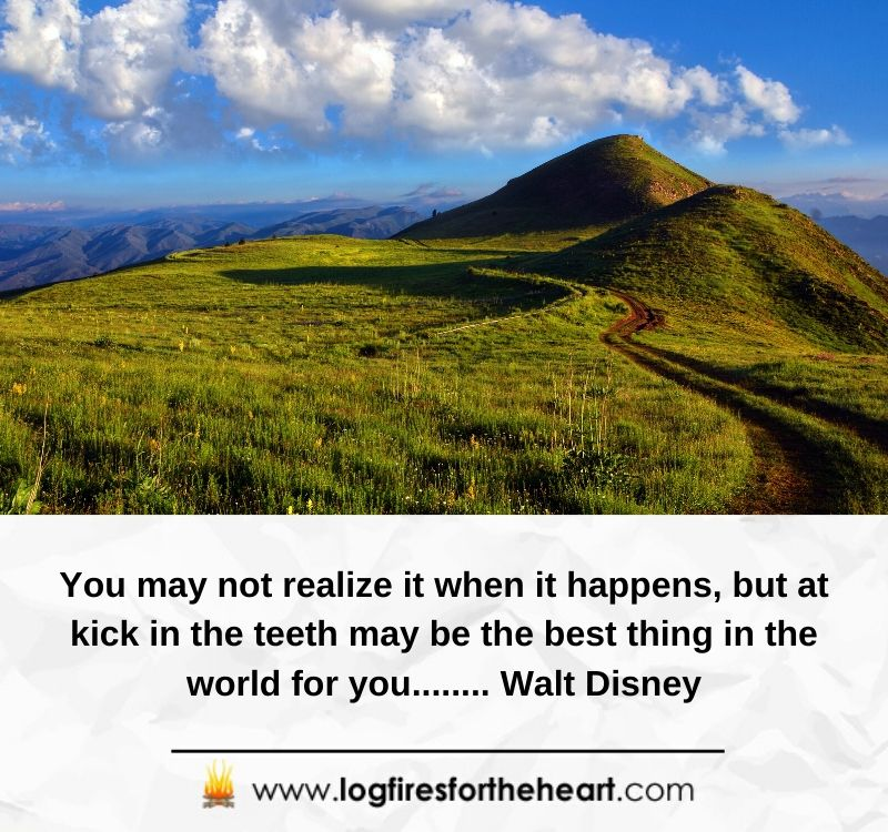 You may not realize it when it happens, but at kick in the teeth may be the best thing in the world for you........ Walt Disney