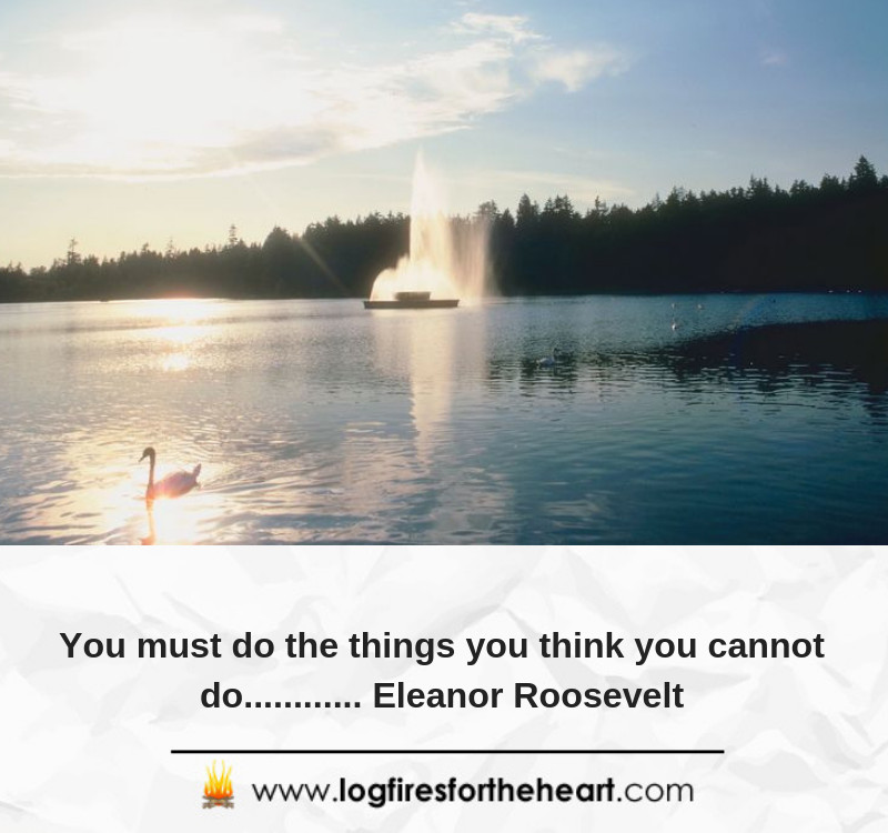 You must do the things you think you cannot do............ Eleanor Roosevelt