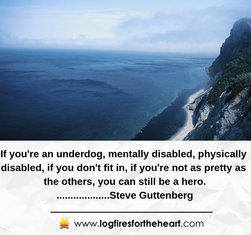 If you're an underdog, mentally disabled, physically disabled, if you don't fit in, if you're not as pretty as the others, you can still be a hero. ...................Steve Guttenberg